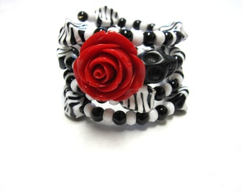 Sugar Skull Bracelet Day of the Dead Wrap Cuff Red Rose Black White