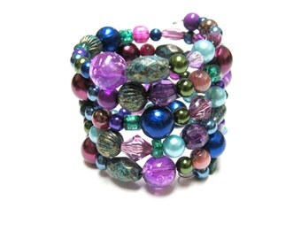 Wrap Bracelet Midnight Color Burst Beaded Cuff No Skulls Purple Blue