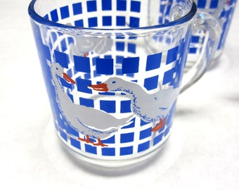 Goose Geese Coffee Mugs Cups Set of 3 Blue White Clear