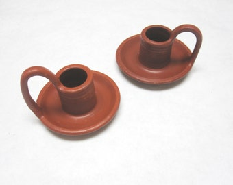 Candle Holder Vintage Pottery Rust Brown Handled Candlestick Holders Two