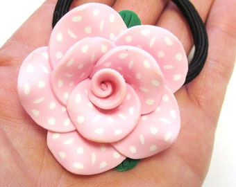 Pink Rose Ponytail Holder Polka Dot Flower Hair Tie Accessory
