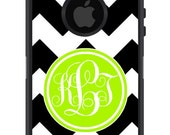 OTTERBOX DEFENDER iPhone 6 5 5S 5C 4/4S iPod Touch 5G Case Custom Black Chevron stripes lime green initial circle - Monogram Personalized ID