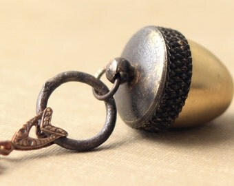 Antique Finished Acorn Canister Necklace-  Little Keepsake Charm You Can Wear By Coughing Cow & Chicken