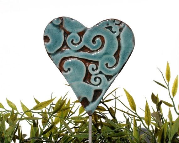 Heart garden art - plant stakes - garden markers - garden decor - heart ornament - ceramic heart - large - aqua