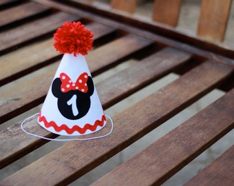 Minnie Mouse Birthday Hat Red White Black First Birthday Party 1st Birthday Outfit