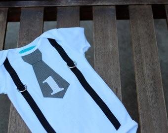 Baby Boy First Birthday Tie Shirt Bodysuit Gray and White Black Suspenders Little Man First 1st Birthday