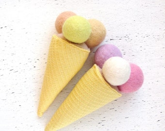 Ice cream - Wool Felt play food - Set of 2 ice cream cones with your favorite flavors - Ice cream birthday party favor