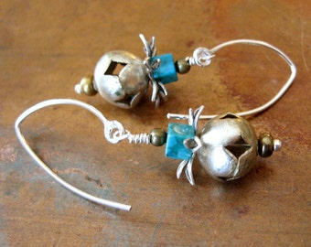 Rustic Silver and Turquoise Earrings - Bohemian Turquoise Earrings - Boho Silver Earrings