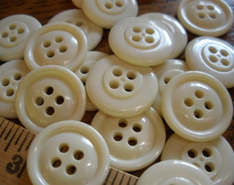 "Cool Vintage Bulk Buttons Cream 3/4"" (30L 19MM) 72 each Shiny Plastic traditional rounded face 1 rim 4 hole sew on sewing crafts scrapbook"