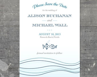 Kissing Fish Save the Date - Printable