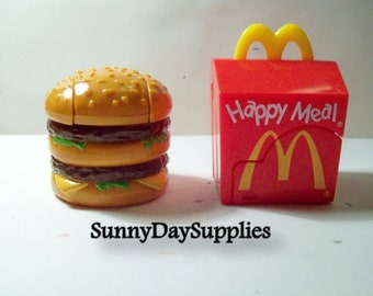 Vintage McDonald's Happy Meal Toys-  Changeables ~  Big MAC, Happy Meal Box, Dinosaur and Robot - 2 in Lot ~ Food Toys