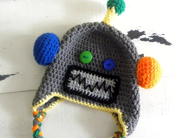 Robot Hat Crochet Pattern - All Sizes - Instant Download