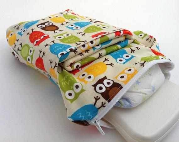 All-in-One Changing Kit  - Diaper Pouch and Waterproof Mat Set - Owls