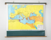 Vintage 1980's Ancient History Pull Down Classroom Map - The Mediterranean World (550 - 500 B.C.)
