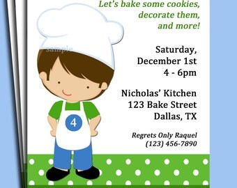 Boy Chef Invitation Printable or Printed with FREE SHIPPING -  (You Pick Hair Color/Skin Tone)