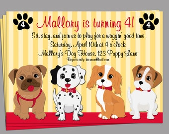 Puppy Dog Invitation Printable or Printed with FREE SHIPPING - Sit Stay and Play Collection