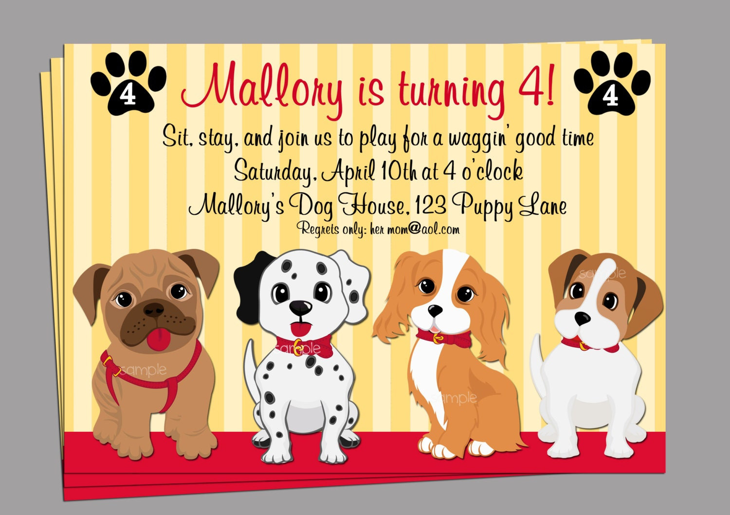 Puppy Dog Invitation Printable or Printed with FREE SHIPPING – Puppy Dog Birthday Invitations