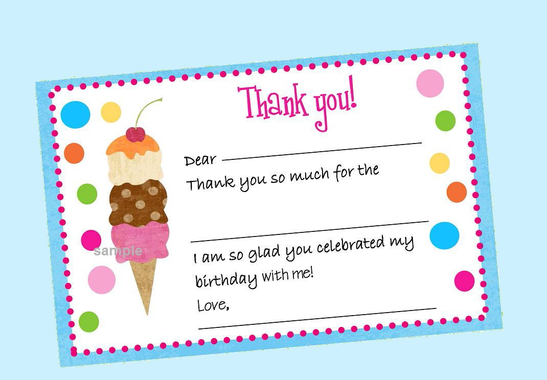 50 OFF SALE Instnat Download Ice Cream Birthday Thank You – Printable Birthday Thank You Cards