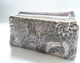 Gray Wedding Clutches, Bridal Set of 4 Bags, Cream Floral Bags, Cosmetic Purses, Bridesmaids Gifts