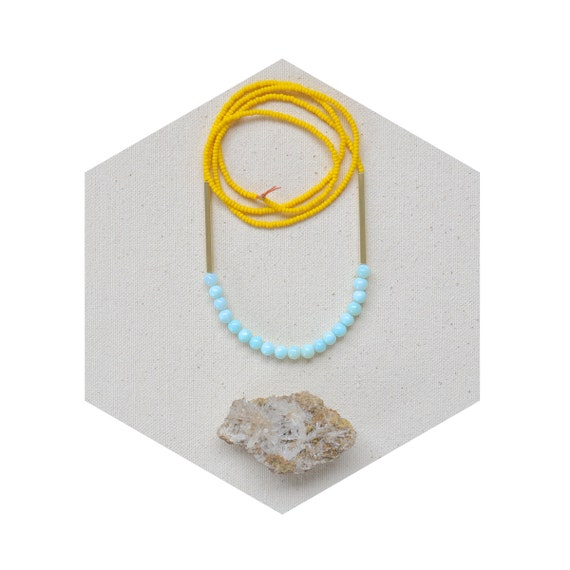 HALF OFF Dream of Shores Necklace- Peruvian Opal and Matte Yellow Czech Glass with Raw Brass