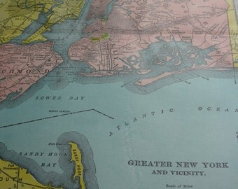 Map original vintage 1911 Greater New York and Vincinity