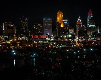 Cincinnati Night Skyline Print, Fine Art Photo Print, Wall Decor, Cincinnati Print, City of Cincinnati Print, Cincinnati Landscape