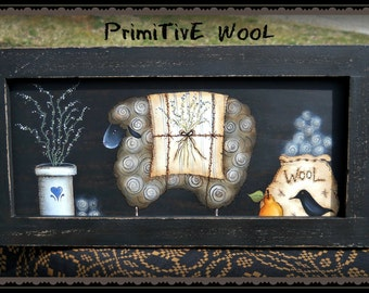 E PATTERN - Primitive Wool - Lovely primitive sheep - Inspired by Terrye French, Painted by Sharon Bond - FAAP