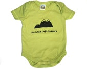 """Organic Kiwi Green Bodysuit with """"No Child Left Indoors"""" and mountains - Handprinted Screen Print 0 3 6 12 months Short Sleeve- Baby Clothes"""