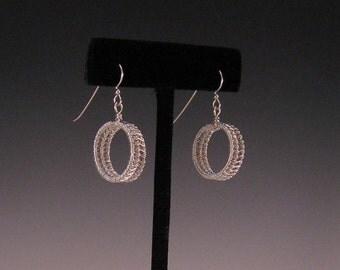 Woven Hoop Sterling Silver Earrings
