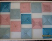 60s Coasters Tray / Movable Coasters  / Pink Blue Squares  / Unique
