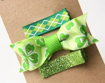 St. Patrick's Day Hair Clips, Hair Bow, Baby Hair Clips, Infant Hair Clips, Green Hair Bow toddler, tween, teen, adult Hair Clip 2 SIZES