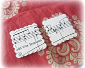 1.5 Inch Hand Punched Scalloped Square 24 Paper Shapes Book Page Shet Music Vintage Organ Handmade