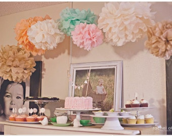 12 Tissue Poms- Vintage Tea Party