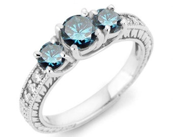 Blue Diamond Ring Engagement 3 STone Antique 100CT