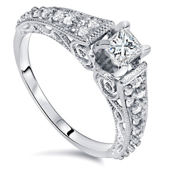 Diamond Engagement Ring Vintage Antique Scroll Style Hand