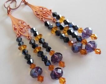 Crystal fantasy on Copper chandelier earrings  E284