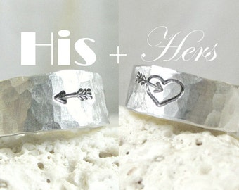 Rustic Wedding Bands- Sterling Silver- Unique- Set of 2