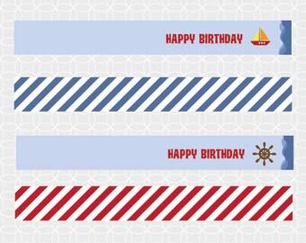 Party Printable Sailboat Party Mini Flags - strips, nautical, boat, anchor, ship's wheel