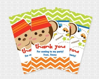 Monkey Party Thank You Tags, Printable file, Personalized, for boys