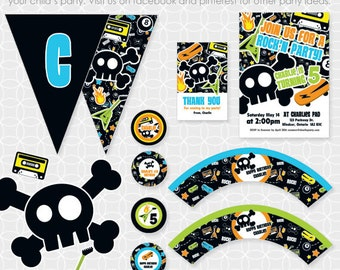 Party Printable Retro Rock'N Party Theme Basic Package - Personalized Printable - skull, skateboard, punk, rocker, guitar