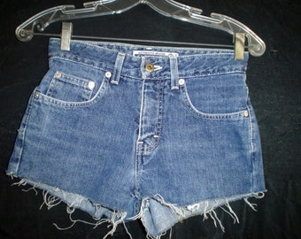 "26"" Teen Brody Blue Denim Jean CUTOFFS Shorts low rise"