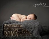 Fuzzy thunder gray loosely handknit mohair unisex newborn wrap photography prop - made to order
