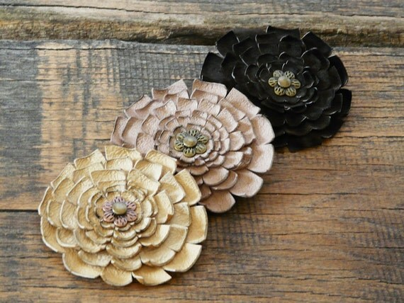 Leather Brooch, Bridesmaids gift, Handmade Rustic style floral,  Flower genuine leather brooch, rustic wedding gift for bridesmaids,