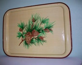 Vintage Shabby and Chic Tole Tray Pine Cone/Needle/Branches Cream Litho Metal 12 3/4 x 17 1/2 in.