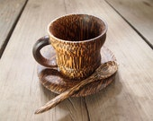 Wooden Coffee Tea set Cup with Plate and Spoon Palm Wood Natural Color
