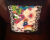 Mexican Art- Saint- Rainbow- Quilted- Colorful Hispanic Pillow Cover- Zocalo Alexander Henry- Folklore