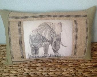 Art Transfer  Elephant Jute  Earthy Ethnic Home Decor  Zentangle Inspired Khaki OOOK Pillow