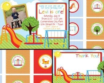 Playground or Park Birthday Invite with FREE Cupcake Tags, Favor Tags & Thank You - Digital Files