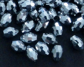 6pc - 11mm Thunder Polish Faceted Silver Cal 2X Crystal Rugby Barrel Spacer Beads