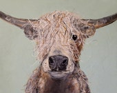 Highland Cow Organic Unique Farm Animal Wall Art Print